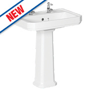 Dartmouth Full Pedestal Basin 2 Tap Holes 588mm