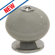 Traditional Ceramic Cabinet Door Knobs Chrome & Grey 42mm Pack of 2