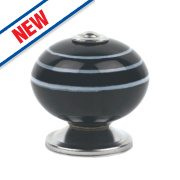Traditional Ceramic Cabinet Door Knobs Chrome Black with White Stripes 42mm Pk2