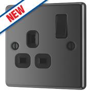 LAP 13A 1-Gang SP Switched Plug Socket Black Nickel