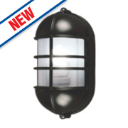 50161 Caged LED Bulkhead Wall Light Black & Grey 27W