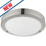 Saxby Portico LED Bathroom Ceiling Light Satin Nickel 9W