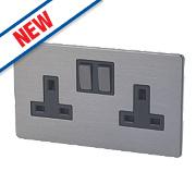LAP 2-Gang 13A SP Switched Plug Socket Slate Effect