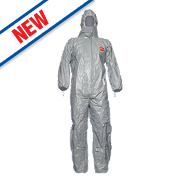 "Tychem F Standard Hooded Disposable Coverall Grey Large 42"" Chest 31"" L"