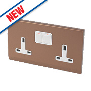 Retrotouch Simplicity 13A 2-Gang DP Switched Socket Bronze