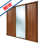 Spacepro 2 Door Sliding Wardrobe Doors Walnut Mirror 2692 x 2260mm