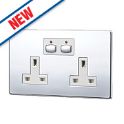 Energenie MiHome 13A 2-Gang SP Switched Socket Polished Chrome