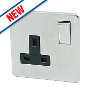 Crabtree 13A 1-Gang DP Switched Socket Black Insert Brushed Chrome