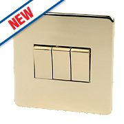 Crabtree 3-Gang 2-Way 10AX Switch Polished Brass Flat Plate