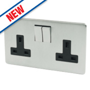 Crabtree 13A 2-Gang DP Switched Socket Black Insert Brushed Chrome