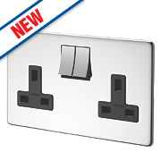 Crabtree 13A 2-Gang DP Switched Socket Polished Chrome Flat Plate