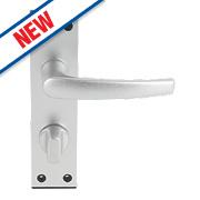 Smith & Locke Black End Cap WC Door Handle Set Pair Satin Aluminium