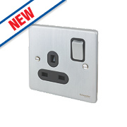 Schneider Electric Ultimate 13A SP 1-Gang Switched Socket Brushed Chrome