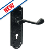 Turnberry LoB Lock Door Handles Antique Black 48 x 170mm
