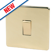 Crabtree 1-Gang 2-Way 10AX Switch Polished Brass Flat Plate