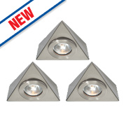Saxby Nyx LED Triangular Cabinet Downlight Kit Satin Nickel Pack of 3