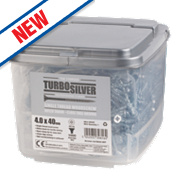 Turbo Silver Zinc-Plated Woodscrews Double-Self-Countersunk 4 x 40mm Pk1000