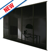 Spacepro 4 Door Framed Glass Sliding Wardrobe Doors Black Glass 2998 x 2260mm