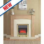 Be Modern Stirling Eco Traditional Electric Fire Suite Natural Oak Finish 2kW