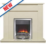 Be Modern Hadrian Eco Traditional Electric Fire Suite Marfil Stone Micro Marble 2kW