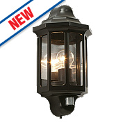 Saxby Satin Black ES PIR Traditional Outdoor Wall Light 60W