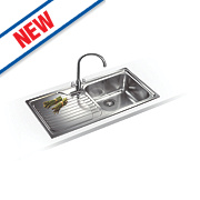 Franke Inset Kitchen Sink Stainless Steel 1 Bowl & Left Hand Drainer 1000 x 500mm