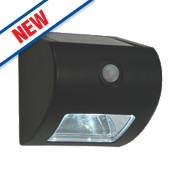 Matt Black Solar Powered LED Bulkhead with PIR 0.5W