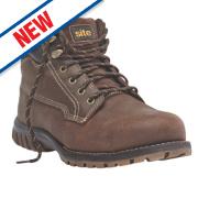 Site Clay Safety Boots Dark Brown Size 10