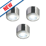 Saxby Pepa LED Round Cabinet Display Light Kit Chrome Pack of 3