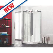 Saniflo Kinedo Horizon Double Sliding Door All-In-One Shower Enclosure 800 x 800mm