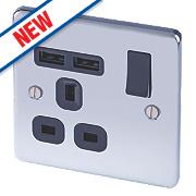 LAP 13A 1-Gang SP Switched Socket & 2-Gang USB Charger Port Polished Chrome