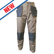 "JCB TradeMaster Work Trousers Sand/Black 34"" W 32"" L"