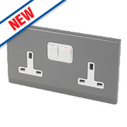 Retrotouch Simplicity 13A 2-Gang DP Switched Socket Mid-Grey
