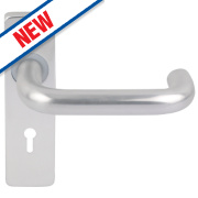 Smith & Locke Excell Lock Door Handle Set Pair Satin Aluminium