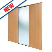 Spacepro 2 Door Sliding Wardrobe Doors Beech / Mirror 2236 x 2260mm