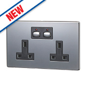 Energenie MiHome 13A 2-Gang SP Switched Socket Black Nickel