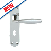 Serozzetta Stylo LoB Lock Door Handles Pair Polished / Satin Chrome