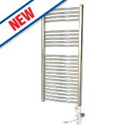 Flomasta Curved Thermostatic Towel Radiator Chrome 1100 x 500 353W 1204Btu