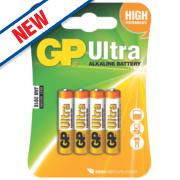 GP Batteries Ultra Alkaline Batteries AAA Pack of 4
