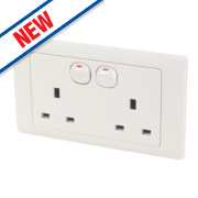 Schneider Electric Rocca 2-Gang 13A SP Switched Socket White