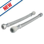 """JG Speedfit Push-Fit Flexible Tap Connector Hoses 22mm x ¾"""" x 500mm Pk2"""