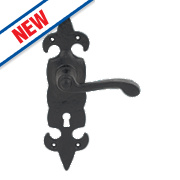 Carlisle Brass Fleur de Lys LoB Lock Door Handles Antique Black 48 x 209mm