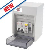 Wylex 2-Way Fully Insulated RCD Garage Consumer Unit + 2 MCBs