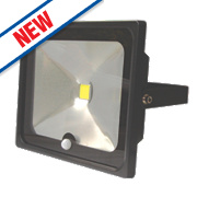 LAP Slimline LED Floodlight with PIR Black 50W