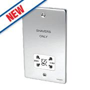 Schneider Dual Voltage Shaver Socket 115 / 230V Pol. Chr w/ Wht Insert