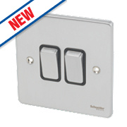 Schneider Electric 2-Gang 2-Way 16AX Light Switch Brushed Chrome