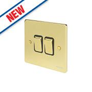 Schneider Electric 2-Gang 2-Way 16AX Light Switch Polished Brass