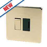 Crabtree 13A Switched FCU Polished Brass Flat Plate