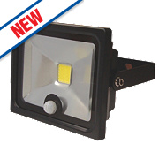 LAP LED Slimline Floodlight with PIR Black 20W