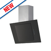 Angled Chimney Cooker Hood Stainless Steel & Black Glass 600mm